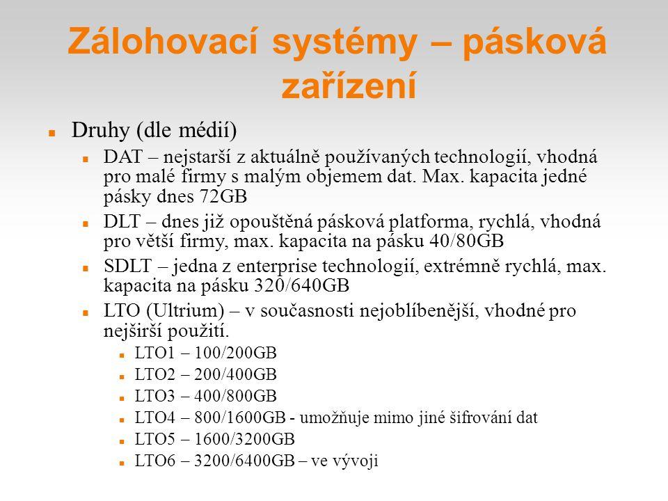Zálohovací systémy – pásková zařízení Druhy (dle médií) DAT – nejstarší z aktuálně používaných technologií, vhodná pro malé firmy s malým objemem dat
