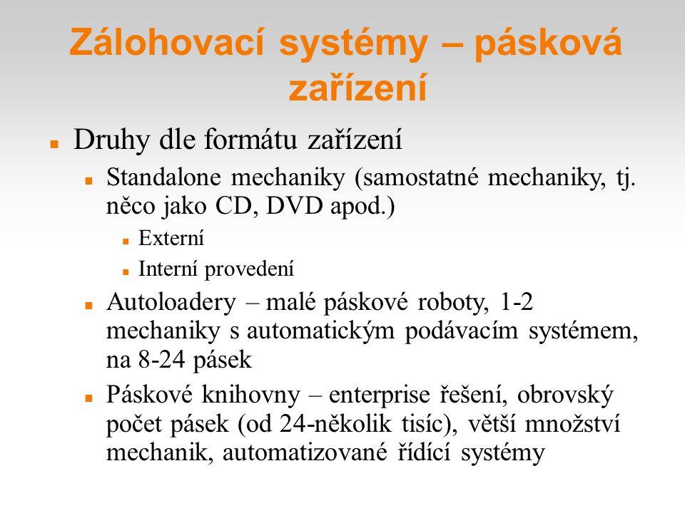 Zálohovací systémy – pásková zařízení Druhy dle formátu zařízení Standalone mechaniky (samostatné mechaniky, tj. něco jako CD, DVD apod.) Externí Int