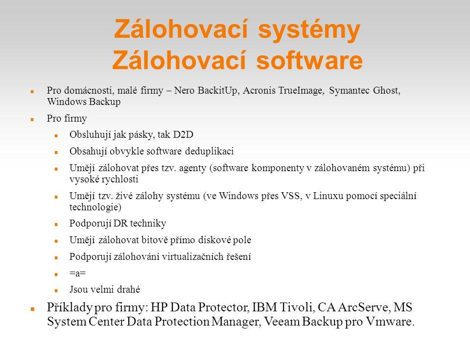 Zálohovací systémy Zálohovací software Pro domácnosti, malé firmy – Nero BackitUp, Acronis TrueImage, Symantec Ghost, Windows Backup Pro firmy Obsluhu