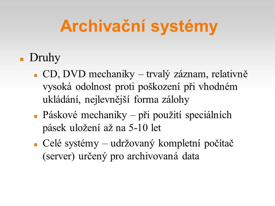 Druhy CD, DVD mechaniky – trvalý záznam, relativně vysoká odolnost proti poškození při vhodném ukládání, nejlevnější forma zálohy Páskové mechaniky –