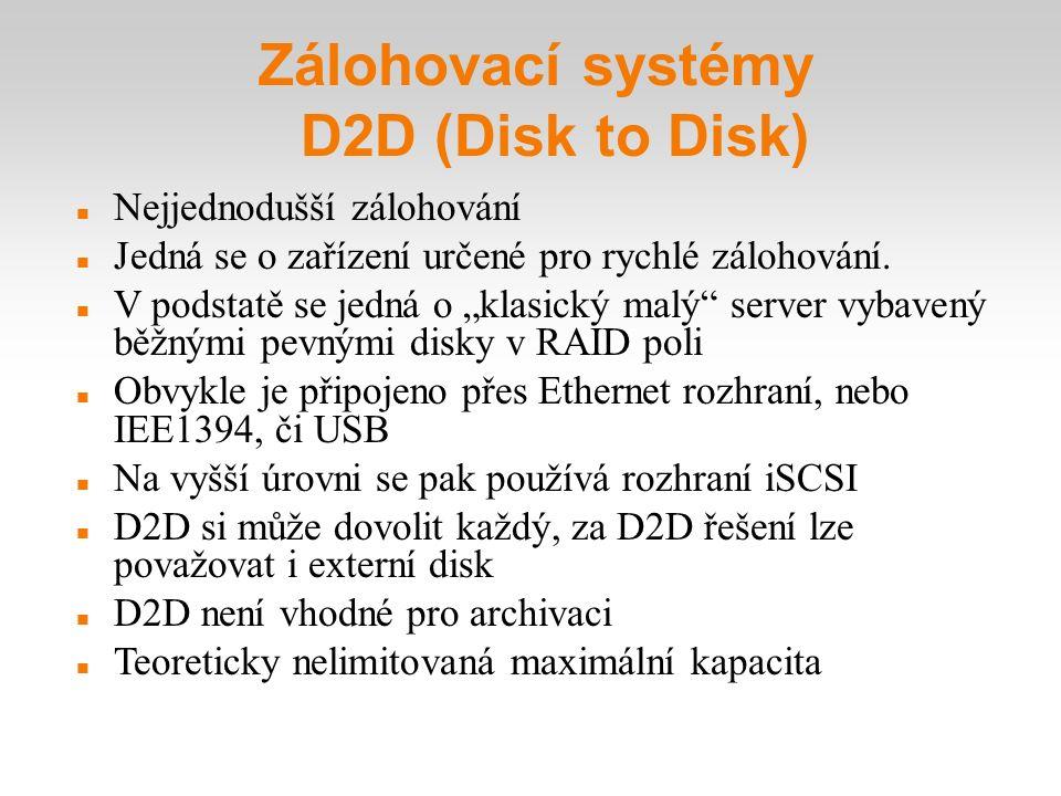 """Zálohovací systémy D2D (Disk to Disk) Nejjednodušší zálohování Jedná se o zařízení určené pro rychlé zálohování. V podstatě se jedná o """"klasický malý"""