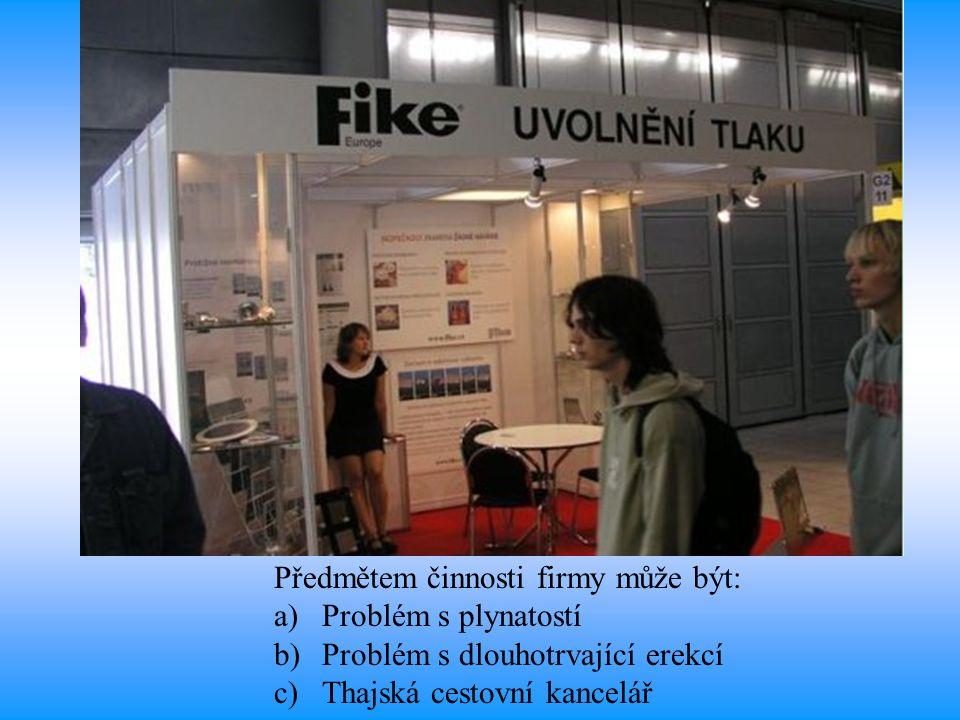 Předmětem činnosti firmy může být: a)Problém s plynatostí b)Problém s dlouhotrvající erekcí c)Thajská cestovní kancelář