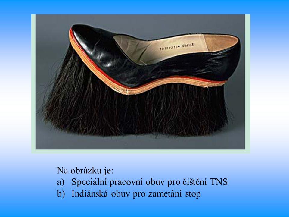 Na obrázku je: a)Speciální pracovní obuv pro čištění TNS b)Indiánská obuv pro zametání stop