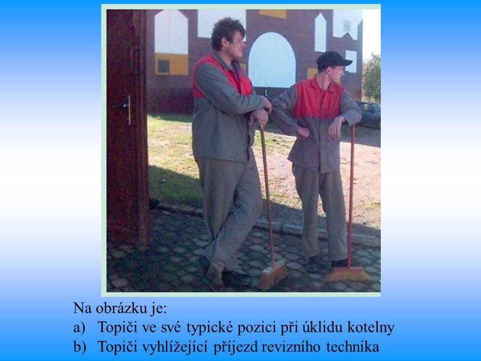 Na obrázku je: a)Topiči ve své typické pozici při úklidu kotelny b)Topiči vyhlížející příjezd revizního technika