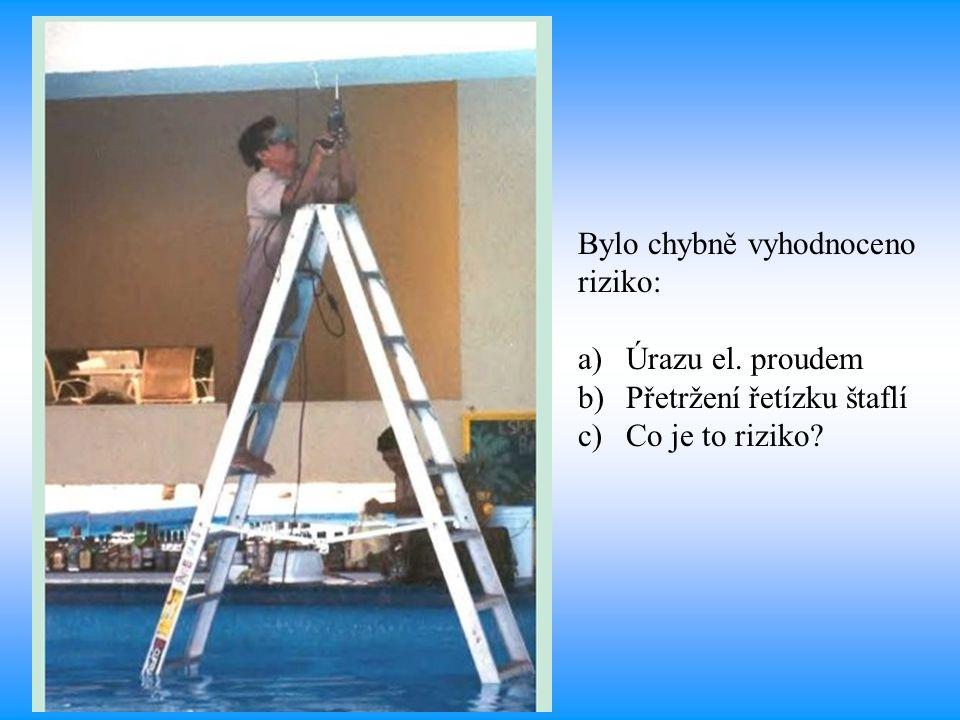 Bylo chybně vyhodnoceno riziko: a)Úrazu el. proudem b)Přetržení řetízku štaflí c)Co je to riziko