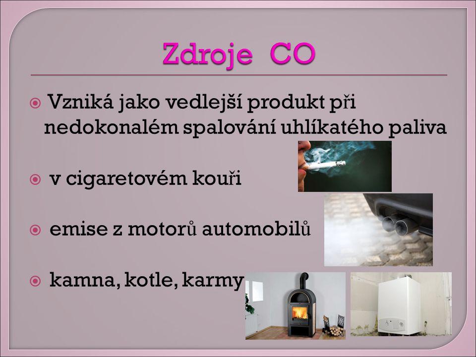  Vzniká jako vedlejší produkt p ř i nedokonalém spalování uhlíkatého paliva  v cigaretovém kou ř i  emise z motor ů automobil ů  kamna, kotle, karmy
