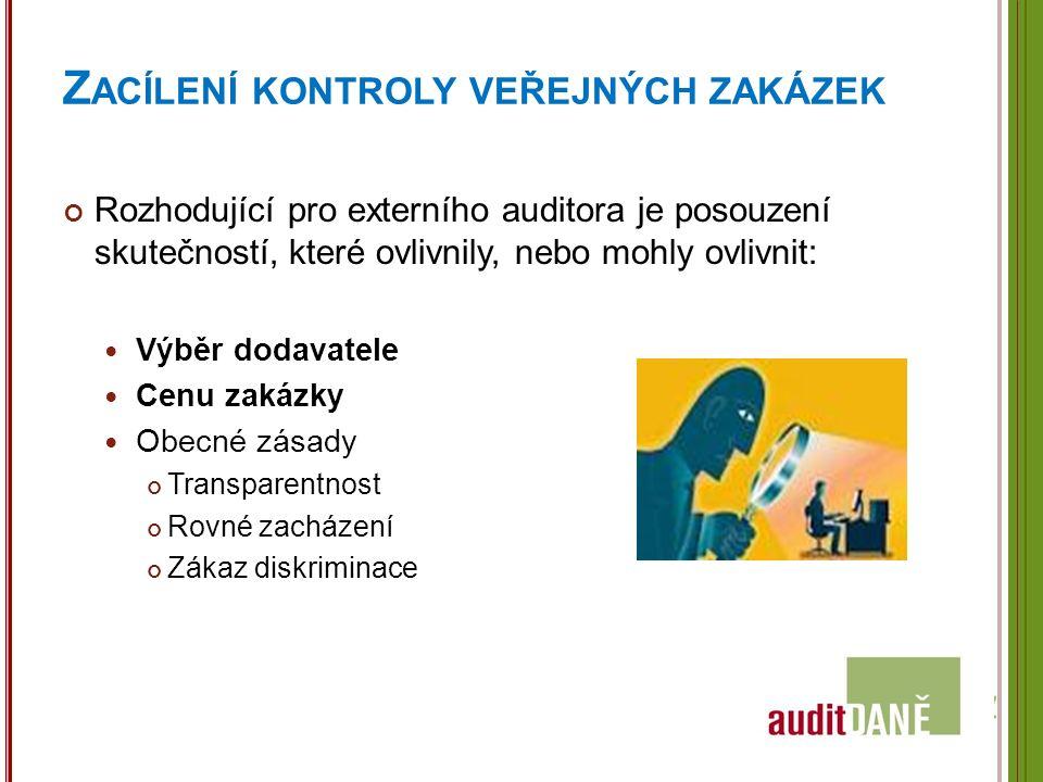 Z ACÍLENÍ KONTROLY VEŘEJNÝCH ZAKÁZEK Rozhodující pro externího auditora je posouzení skutečností, které ovlivnily, nebo mohly ovlivnit: Výběr dodavatele Cenu zakázky Obecné zásady Transparentnost Rovné zacházení Zákaz diskriminace