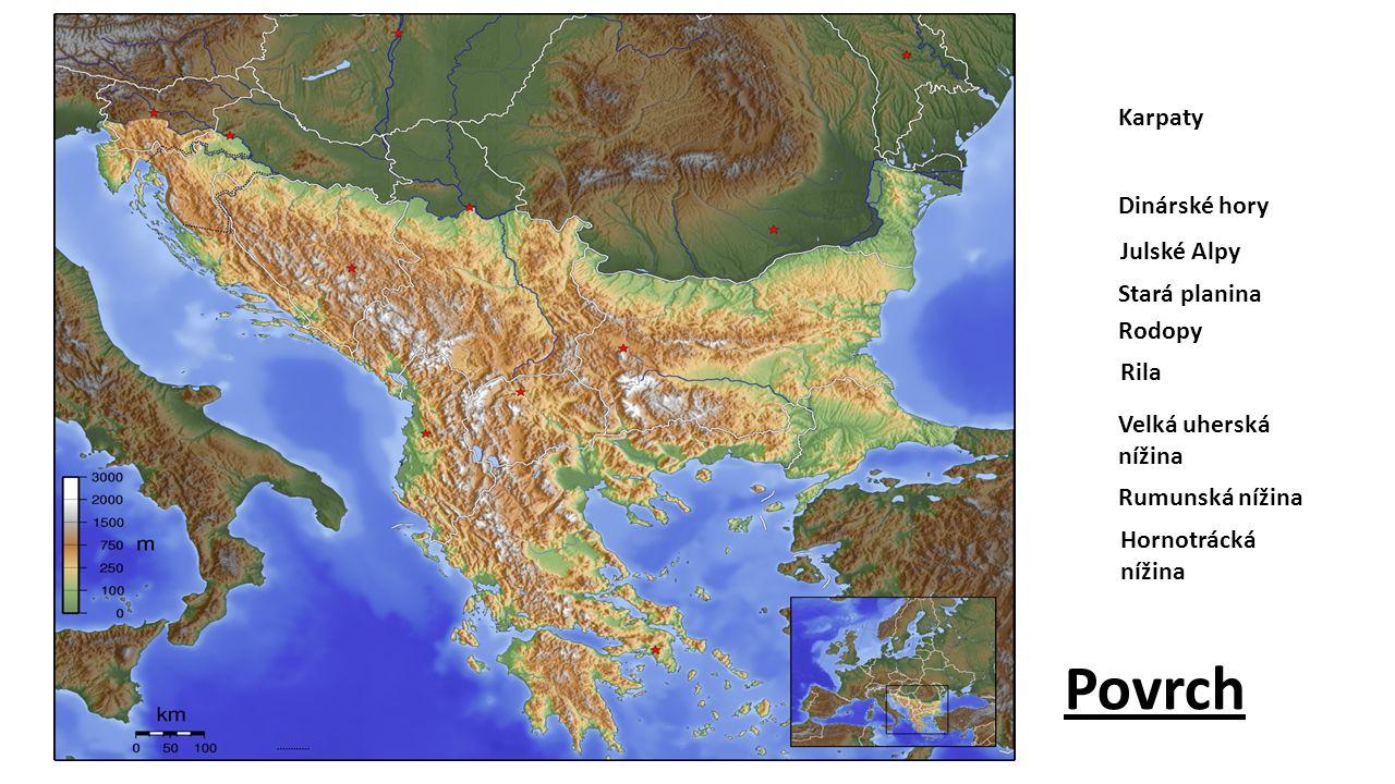 Karpaty Dinárské hory Stará planina Rila Rodopy Julské Alpy Rumunská nížina Velká uherská nížina Povrch Hornotrácká nížina