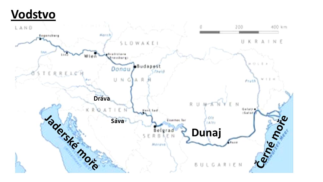 Vodstvo Jaderské moře Černé moře Dunaj Sáva Dráva