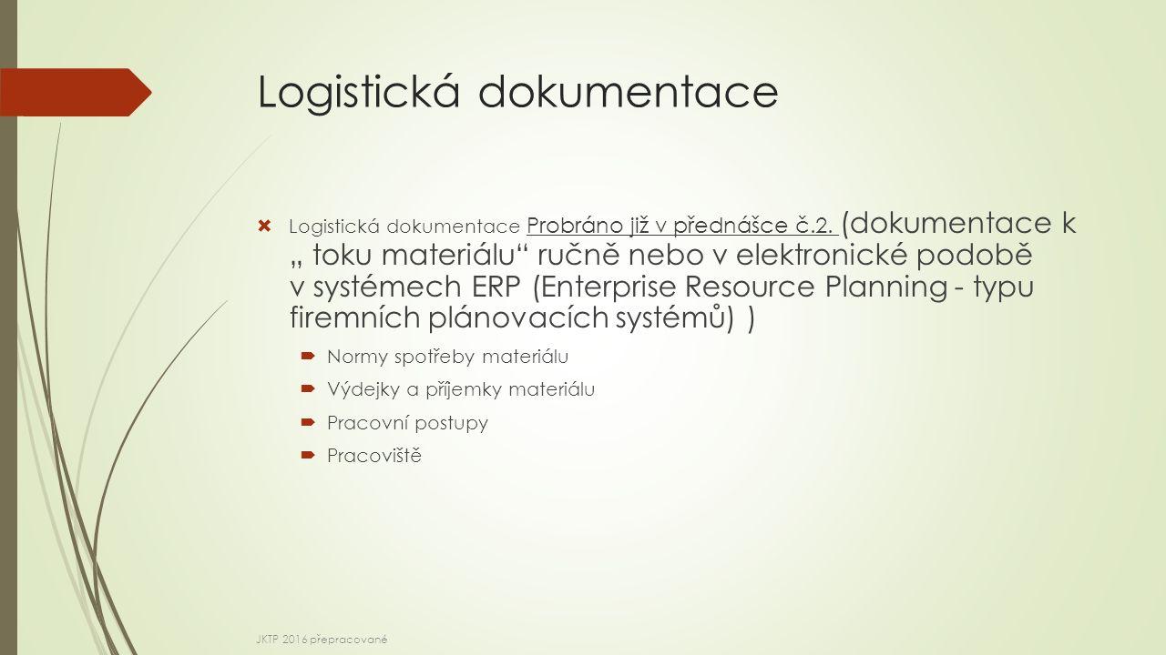 Logistická dokumentace  Logistická dokumentace Probráno již v přednášce č.2.