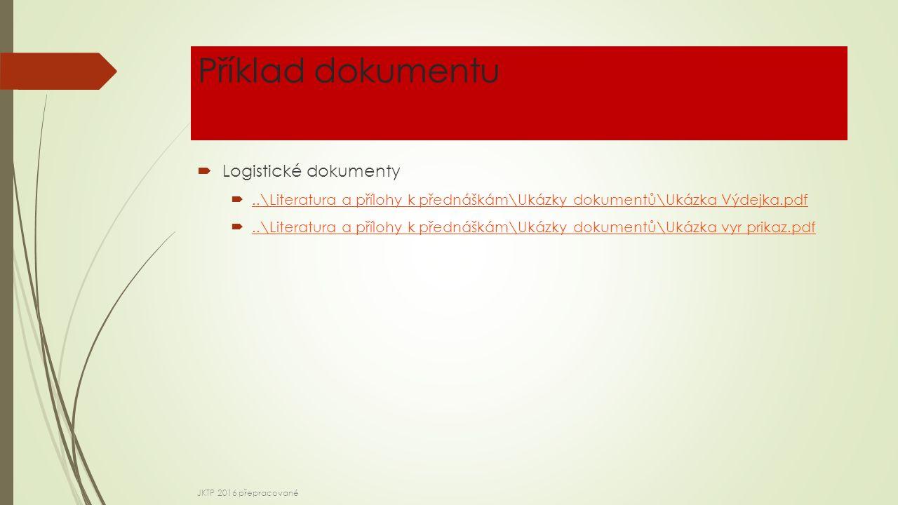 Příklad dokumentu  Logistické dokumenty ..\Literatura a přílohy k přednáškám\Ukázky dokumentů\Ukázka Výdejka.pdf..\Literatura a přílohy k přednáškám\Ukázky dokumentů\Ukázka Výdejka.pdf ..\Literatura a přílohy k přednáškám\Ukázky dokumentů\Ukázka vyr prikaz.pdf..\Literatura a přílohy k přednáškám\Ukázky dokumentů\Ukázka vyr prikaz.pdf JKTP 2016 přepracované