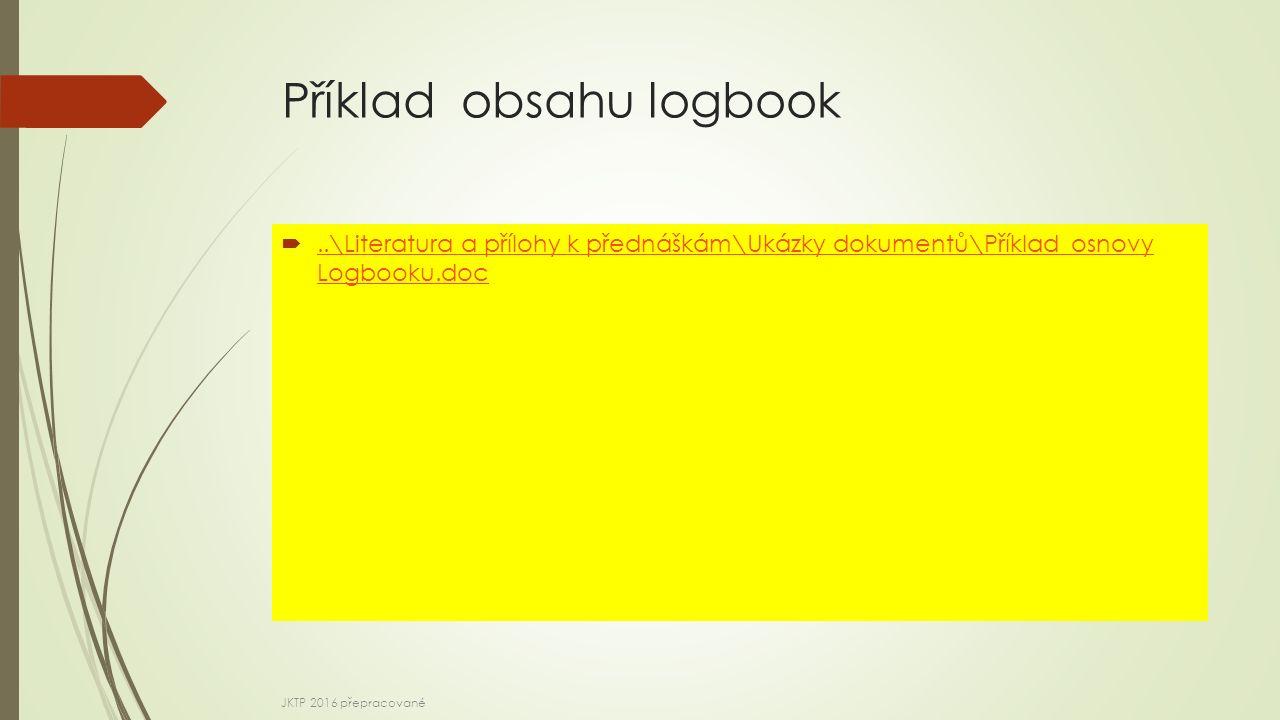 Příklad obsahu logbook ..\Literatura a přílohy k přednáškám\Ukázky dokumentů\Příklad osnovy Logbooku.doc..\Literatura a přílohy k přednáškám\Ukázky dokumentů\Příklad osnovy Logbooku.doc JKTP 2016 přepracované