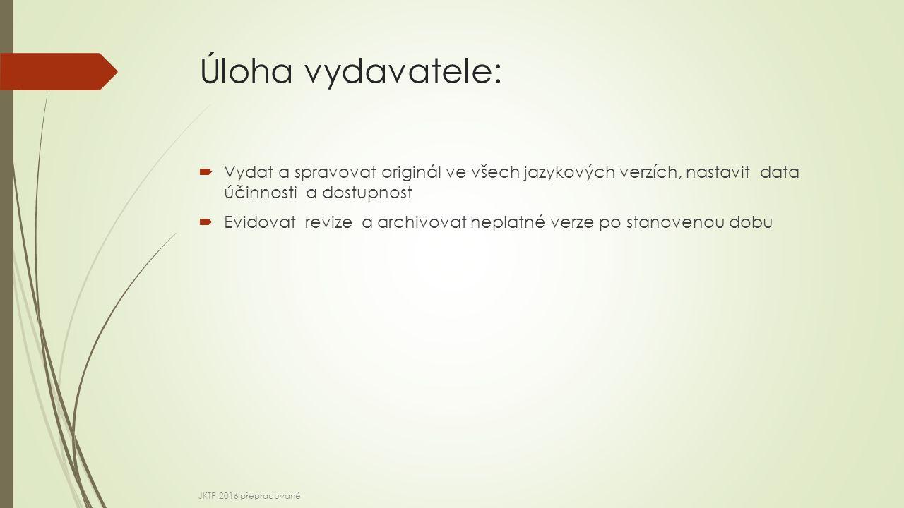 Úloha vydavatele:  Vydat a spravovat originál ve všech jazykových verzích, nastavit data účinnosti a dostupnost  Evidovat revize a archivovat neplatné verze po stanovenou dobu JKTP 2016 přepracované