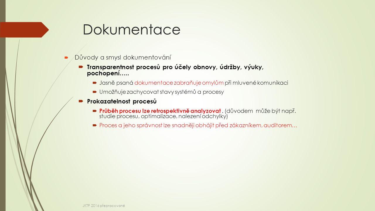 Dokumentace  Důvody a smysl dokumentování  Transparentnost procesů pro účely obnovy, údržby, výuky, pochopení…..