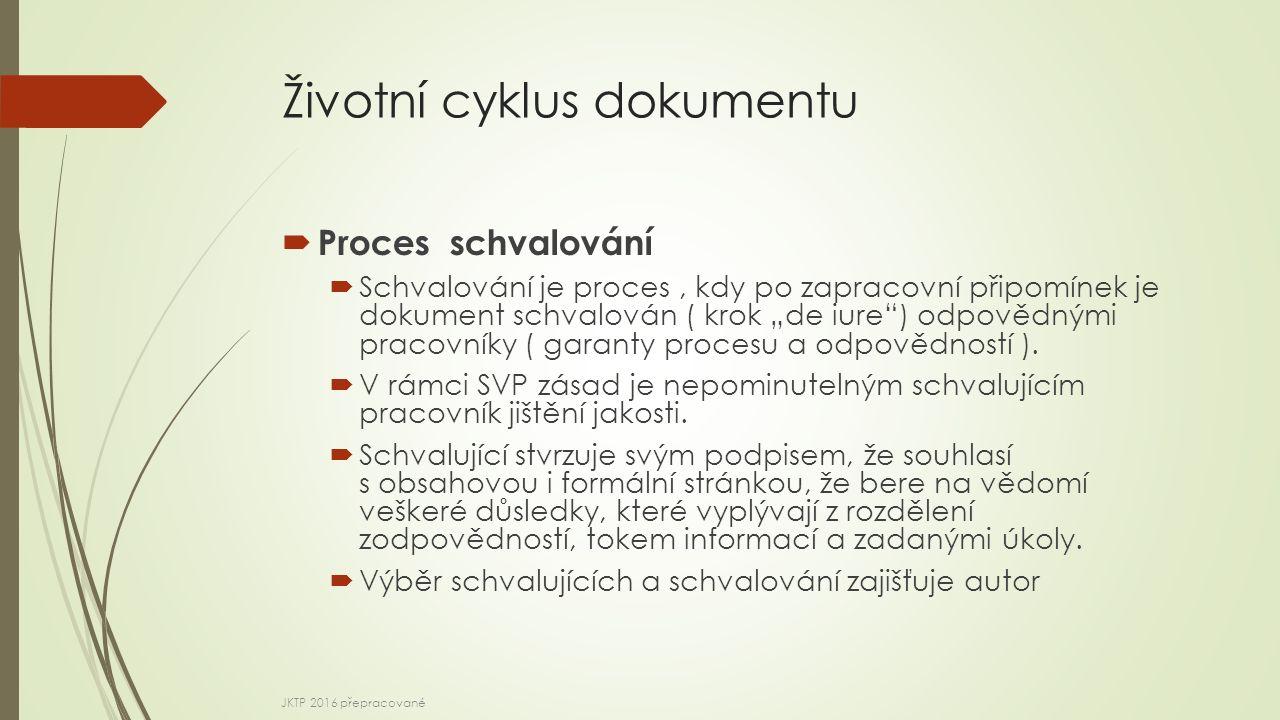 """Životní cyklus dokumentu  Proces schvalování  Schvalování je proces, kdy po zapracovní připomínek je dokument schvalován ( krok """"de iure ) odpovědnými pracovníky ( garanty procesu a odpovědností )."""