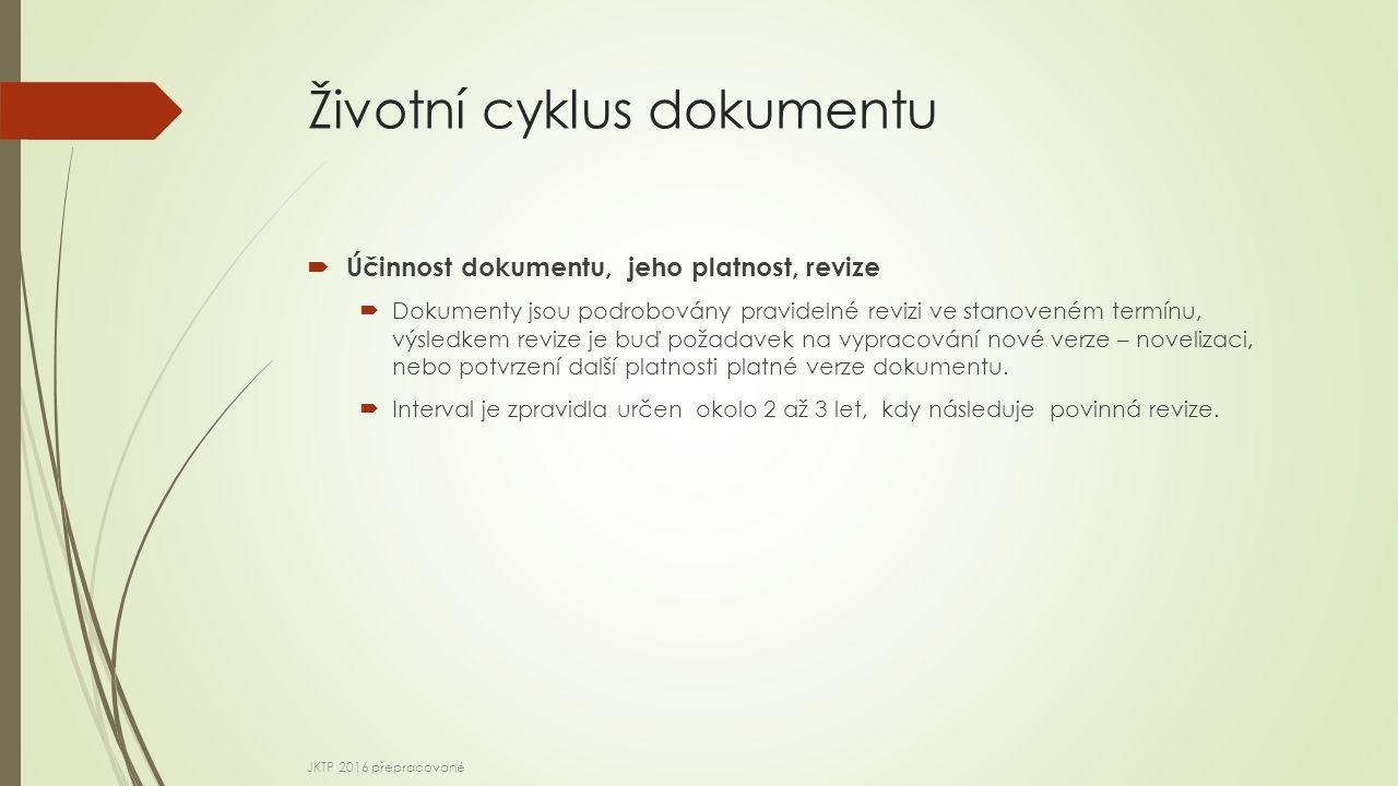 Životní cyklus dokumentu  Účinnost dokumentu, jeho platnost, revize  Dokumenty jsou podrobovány pravidelné revizi ve stanoveném termínu, výsledkem revize je buď požadavek na vypracování nové verze – novelizaci, nebo potvrzení další platnosti platné verze dokumentu.