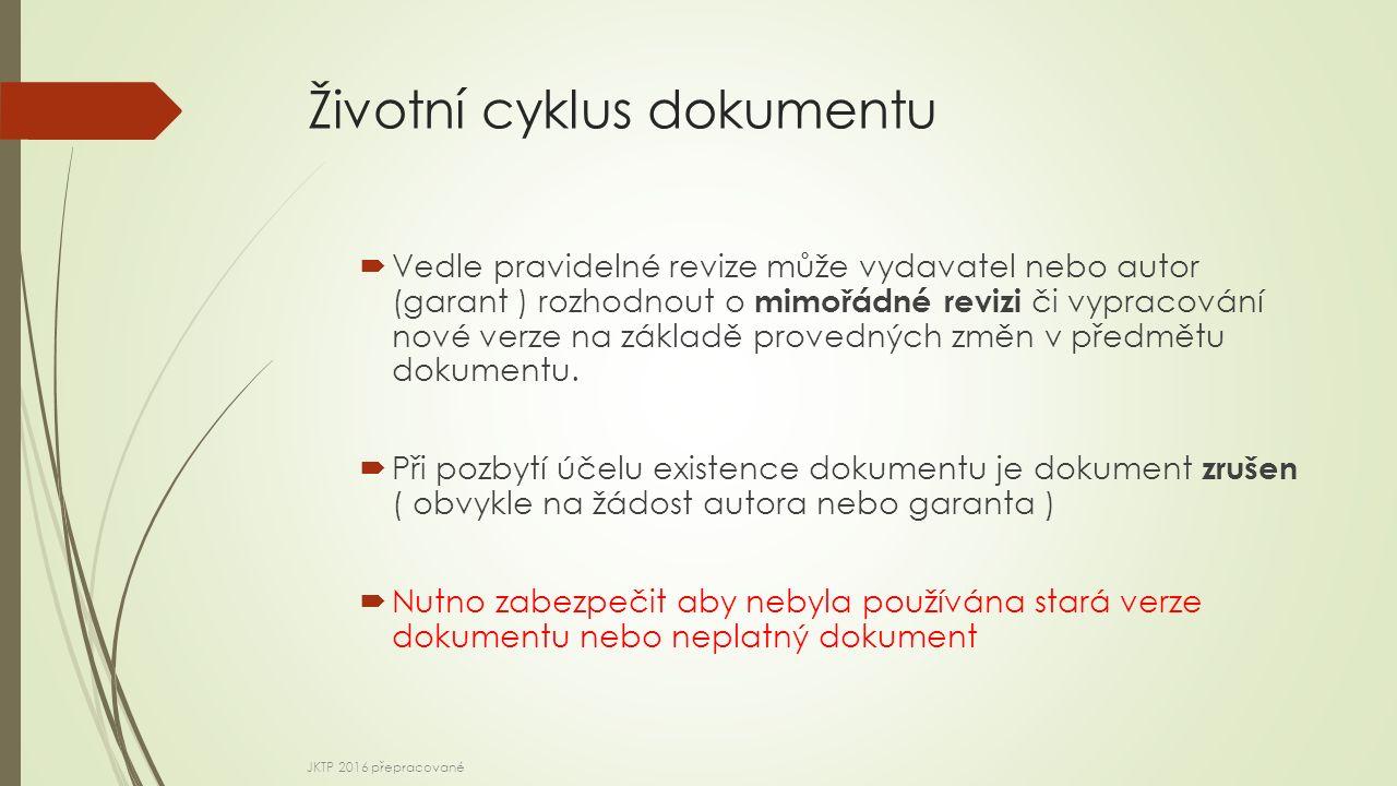 Životní cyklus dokumentu  Vedle pravidelné revize může vydavatel nebo autor (garant ) rozhodnout o mimořádné revizi či vypracování nové verze na základě provedných změn v předmětu dokumentu.