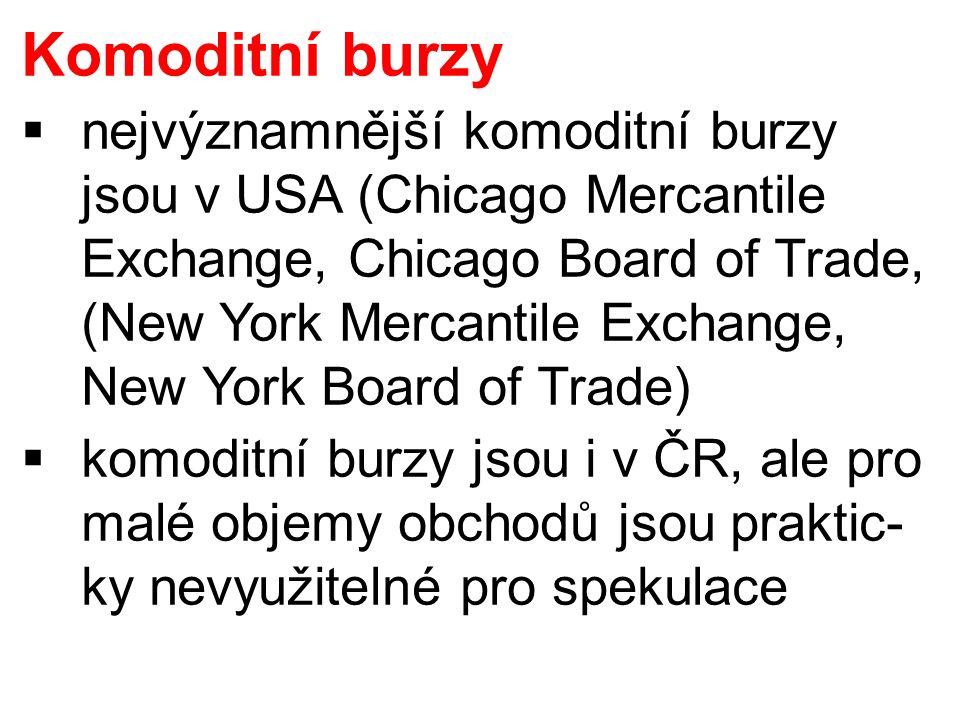 Komoditní burzy  nejvýznamnější komoditní burzy jsou v USA (Chicago Mercantile Exchange, Chicago Board of Trade, (New York Mercantile Exchange, New York Board of Trade)  komoditní burzy jsou i v ČR, ale pro malé objemy obchodů jsou praktic- ky nevyužitelné pro spekulace