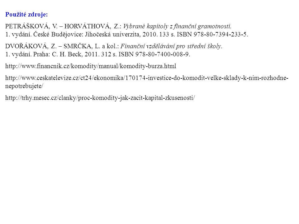 Použité zdroje: PETRÁŠKOVÁ, V. – HORVÁTHOVÁ, Z.: Vybrané kapitoly z finanční gramotnosti.