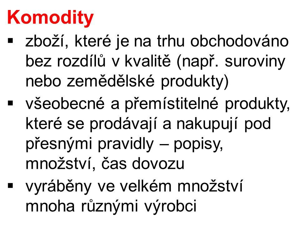 Komodity  zboží, které je na trhu obchodováno bez rozdílů v kvalitě (např. suroviny nebo zemědělské produkty)  všeobecné a přemístitelné produkty, k