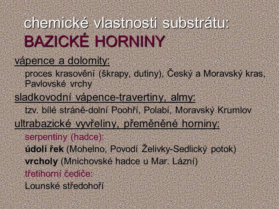 chemické vlastnosti substrátu: BAZICKÉ HORNINY vápence a dolomity: proces krasovění (škrapy, dutiny), Český a Moravský kras, Pavlovské vrchy sladkovodní vápence-travertiny, almy: tzv.