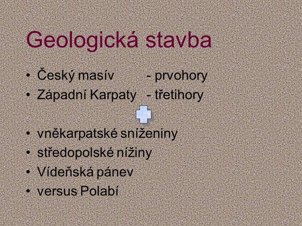 Geologická stavba Český masív- prvohory Západní Karpaty- třetihory vněkarpatské sníženiny středopolské nížiny Vídeňská pánev versus Polabí