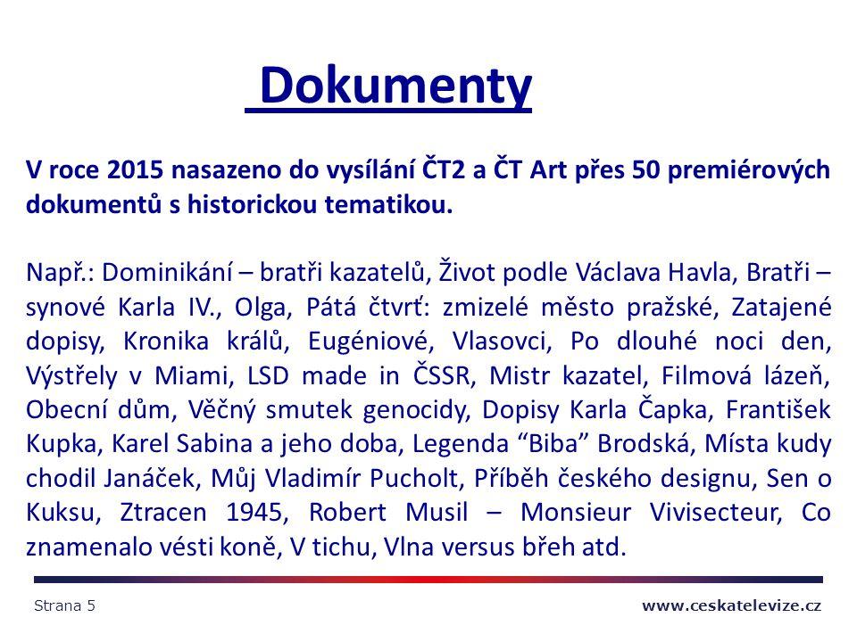 Strana 5 www.ceskatelevize.cz Dokumenty V roce 2015 nasazeno do vysílání ČT2 a ČT Art přes 50 premiérových dokumentů s historickou tematikou.