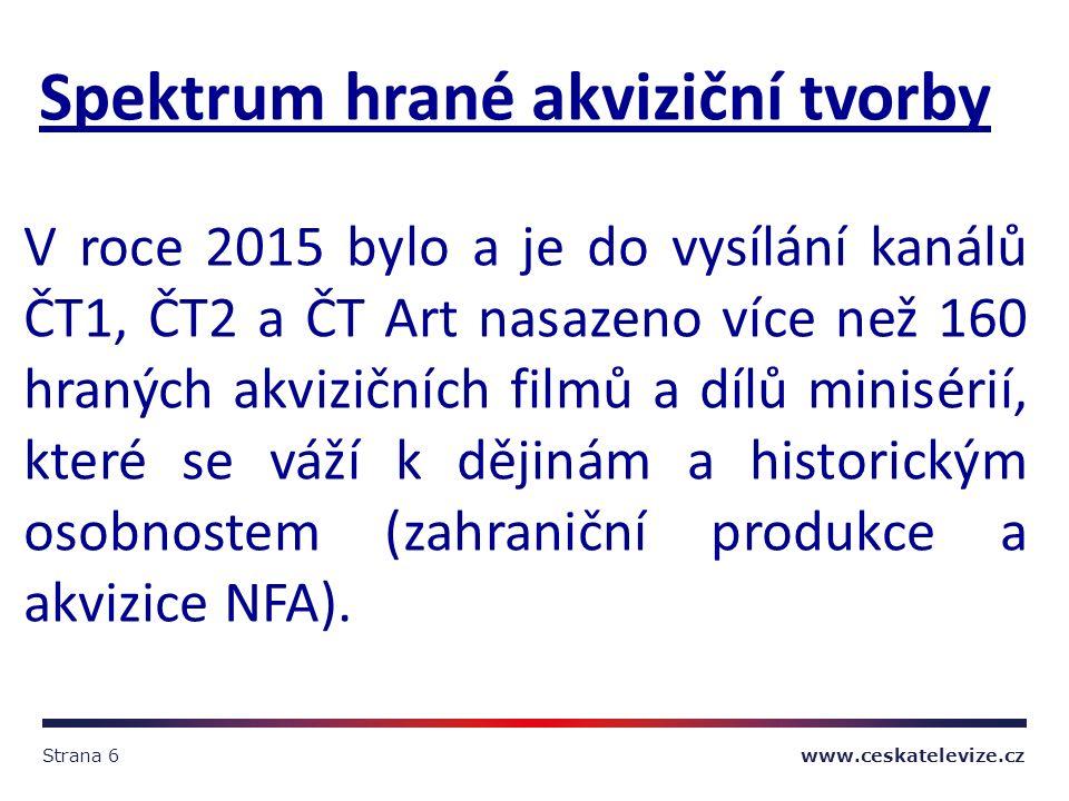 Strana 6 www.ceskatelevize.cz Spektrum hrané akviziční tvorby V roce 2015 bylo a je do vysílání kanálů ČT1, ČT2 a ČT Art nasazeno více než 160 hraných akvizičních filmů a dílů minisérií, které se váží k dějinám a historickým osobnostem (zahraniční produkce a akvizice NFA).