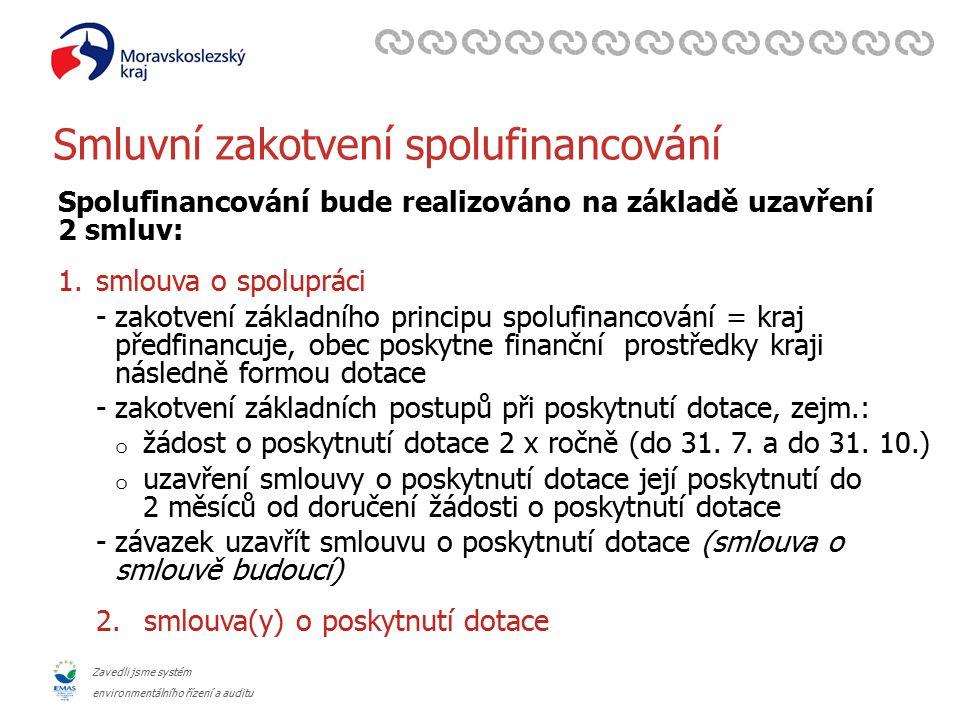 Zavedli jsme systém environmentálního řízení a auditu Smluvní zakotvení spolufinancování Spolufinancování bude realizováno na základě uzavření 2 smluv: 1.smlouva o spolupráci -zakotvení základního principu spolufinancování = kraj předfinancuje, obec poskytne finanční prostředky kraji následně formou dotace -zakotvení základních postupů při poskytnutí dotace, zejm.: o žádost o poskytnutí dotace 2 x ročně (do 31.