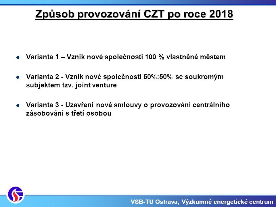 VSB-TU Ostrava, Výzkumné energetické centrum Způsob provozování CZT po roce 2018 Varianta 1 – Vznik nové společnosti 100 % vlastněné městem Varianta 2 - Vznik nové společnosti 50%:50% se soukromým subjektem tzv.