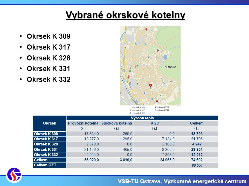 VSB-TU Ostrava, Výzkumné energetické centrum Zhodnocení stávajícího stavu Zhodnocení provozních kotelen Pozn.: Provozní kotelna okrsku K 309 nesplňuje požadavek minimální účinnosti výroby tepelné energie pro palivové kotle dle vyhlášky 441/2012.