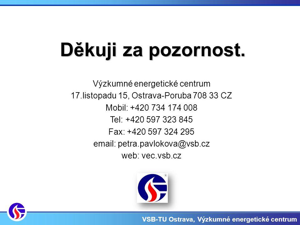 VSB-TU Ostrava, Výzkumné energetické centrum Výzkumné energetické centrum 17.listopadu 15, Ostrava-Poruba 708 33 CZ Mobil: +420 734 174 008 Tel: +420 597 323 845 Fax: +420 597 324 295 email: petra.pavlokova@vsb.cz web: vec.vsb.cz Děkuji za pozornost.