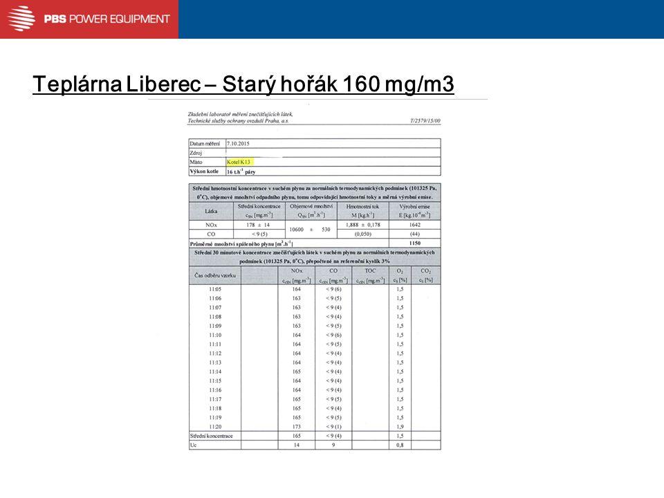 Teplárna Liberec – Starý hořák 160 mg/m3