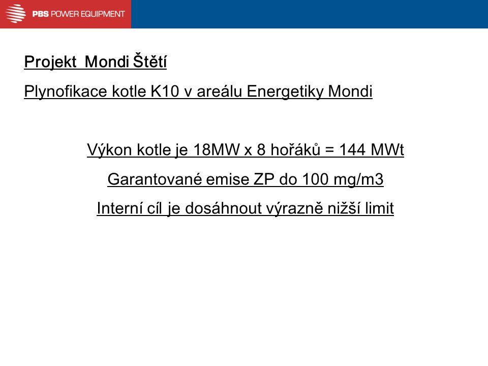 Projekt Mondi Štětí Plynofikace kotle K10 v areálu Energetiky Mondi Výkon kotle je 18MW x 8 hořáků = 144 MWt Garantované emise ZP do 100 mg/m3 Interní cíl je dosáhnout výrazně nižší limit