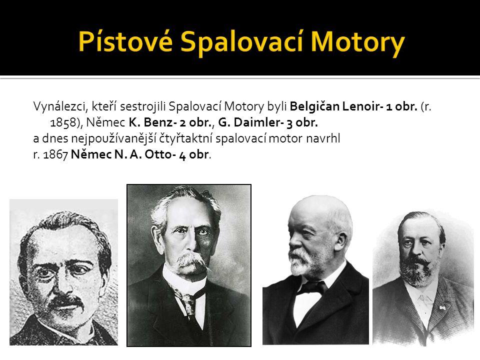 Vynálezci, kteří sestrojili Spalovací Motory byli Belgičan Lenoir- 1 obr. (r. 1858), Němec K. Benz- 2 obr., G. Daimler- 3 obr. a dnes nejpoužívanější