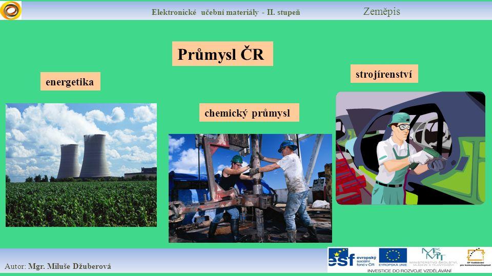 Elektronické učební materiály - II.stupeň Zeměpis Energetika Vyrábí a distribuuje elektřinu.