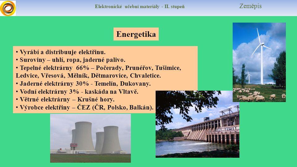 Elektronické učební materiály - II. stupeň Zeměpis Energetika Vyrábí a distribuuje elektřinu.