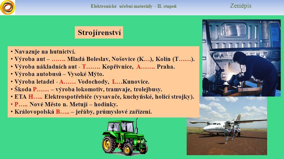 Elektronické učební materiály - II. stupeň Zeměpis Strojírenství Navazuje na hutnictví.