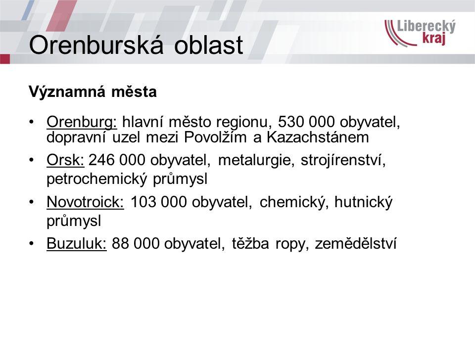 Významná města Orenburg: hlavní město regionu, 530 000 obyvatel, dopravní uzel mezi Povolžím a Kazachstánem Orsk: 246 000 obyvatel, metalurgie, strojírenství, petrochemický průmysl Novotroick: 103 000 obyvatel, chemický, hutnický průmysl Buzuluk: 88 000 obyvatel, těžba ropy, zemědělství