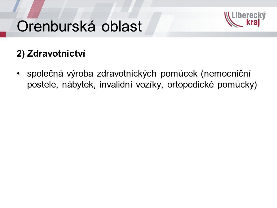 Orenburská oblast 2) Zdravotnictví společná výroba zdravotnických pomůcek (nemocniční postele, nábytek, invalidní vozíky, ortopedické pomůcky)