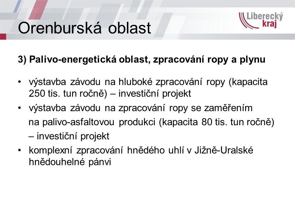 Orenburská oblast 3) Palivo-energetická oblast, zpracování ropy a plynu výstavba závodu na hluboké zpracování ropy (kapacita 250 tis.