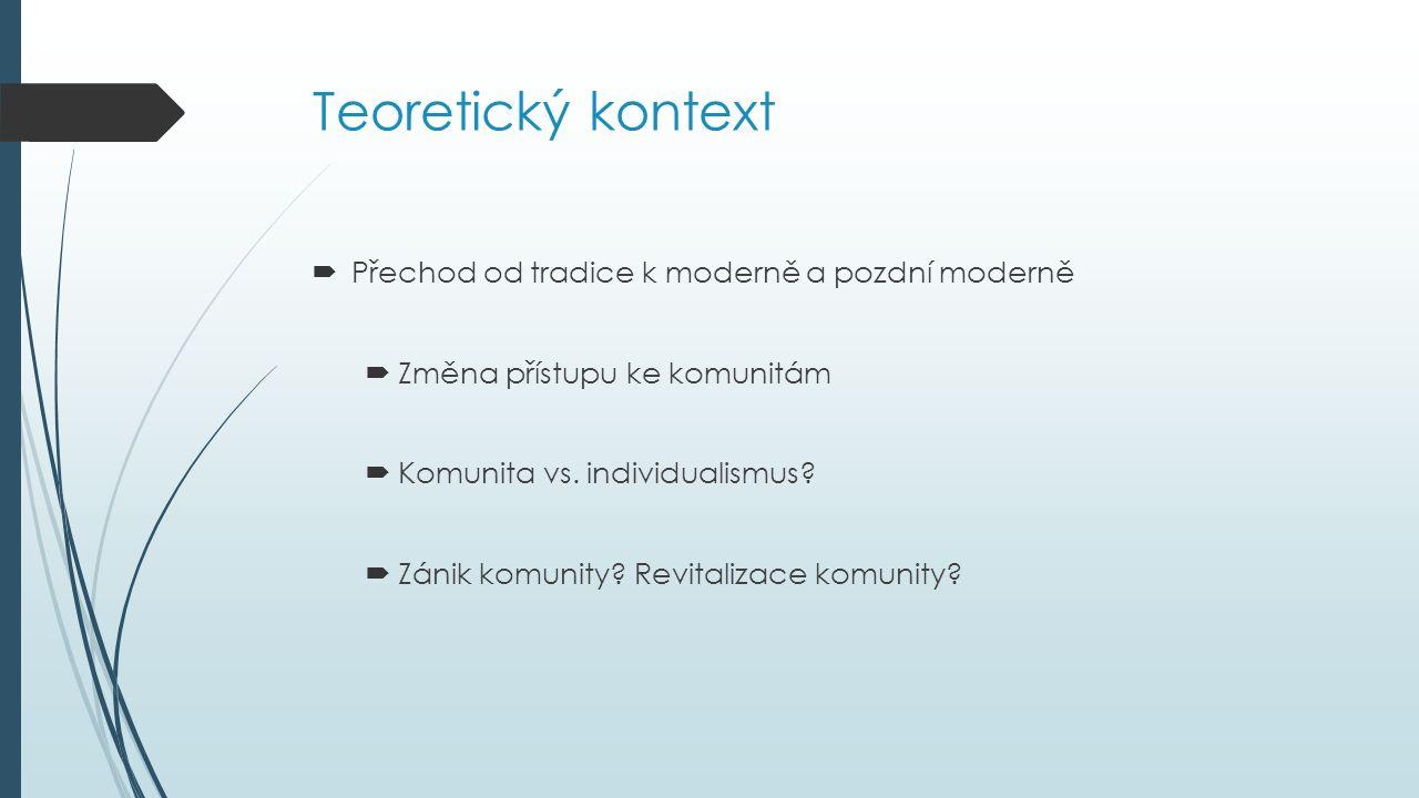 Teoretický kontext  Přechod od tradice k moderně a pozdní moderně  Změna přístupu ke komunitám  Komunita vs.