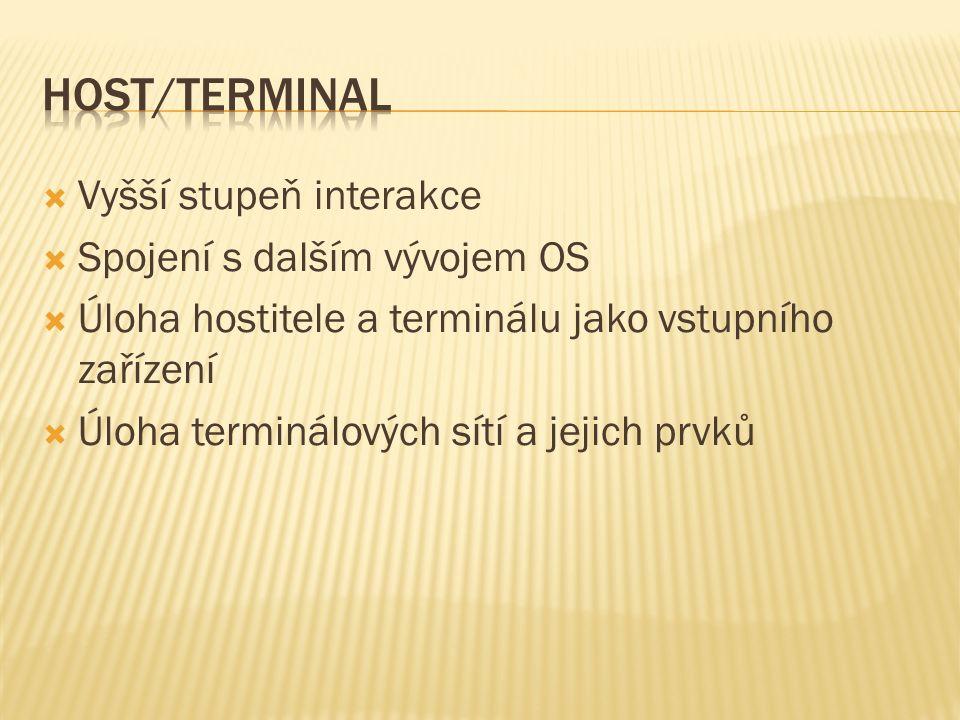  Vyšší stupeň interakce  Spojení s dalším vývojem OS  Úloha hostitele a terminálu jako vstupního zařízení  Úloha terminálových sítí a jejich prvků