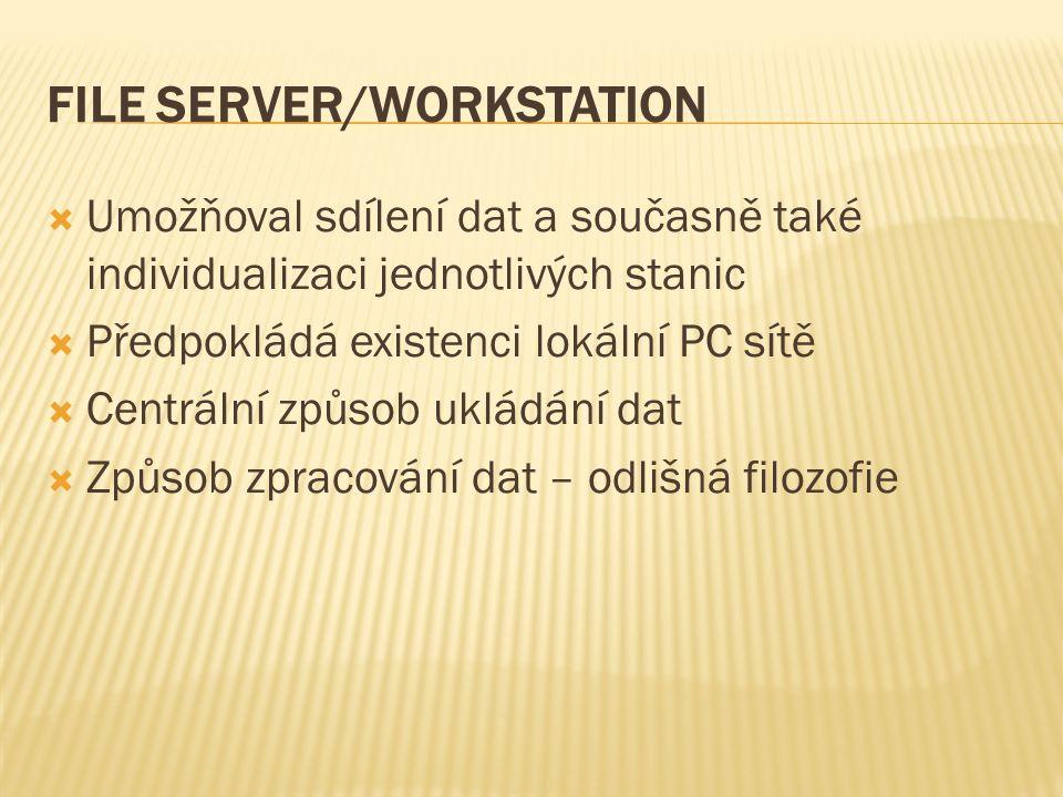 FILE SERVER/WORKSTATION  Umožňoval sdílení dat a současně také individualizaci jednotlivých stanic  Předpokládá existenci lokální PC sítě  Centrální způsob ukládání dat  Způsob zpracování dat – odlišná filozofie