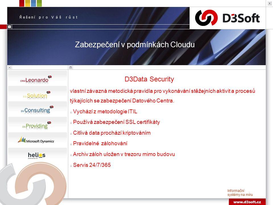 Ř e š e n í p r o V á š r ů s t Informační systémy na míru www.d3soft.cz Zabezpečení v podmínkách Cloudu D3Data Security vlastní závazná metodická pravidla pro vykonávání stěžejních aktivit a procesů týkajících se zabezpečení Datového Centra.