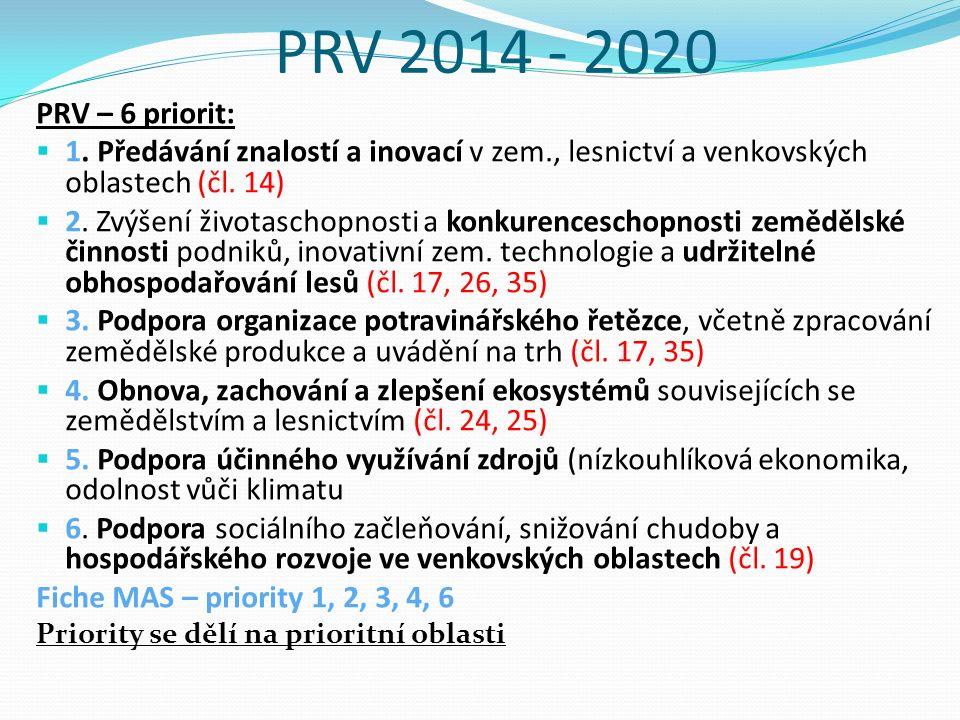 PRV 2014 - 2020 PRV – 6 priorit:  1.