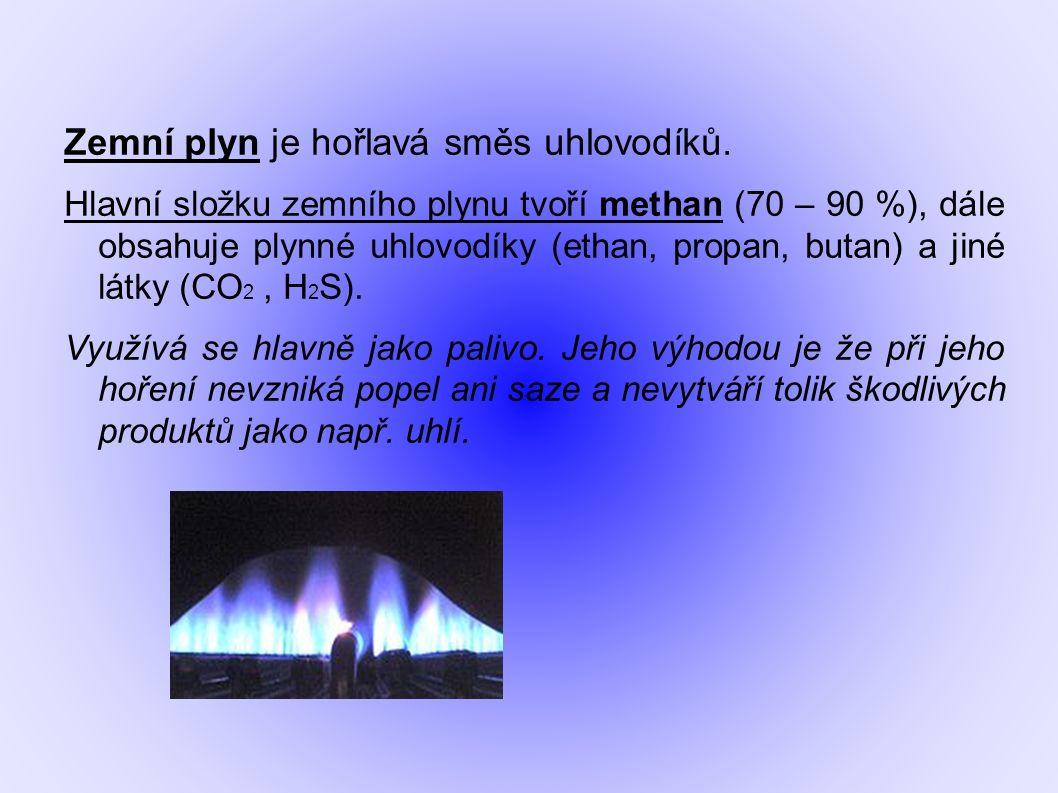 Zemní plyn je hořlavá směs uhlovodíků.