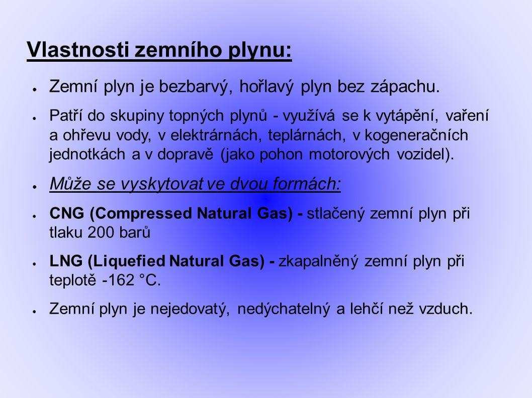 Vlastnosti zemního plynu: ● Zemní plyn je bezbarvý, hořlavý plyn bez zápachu.