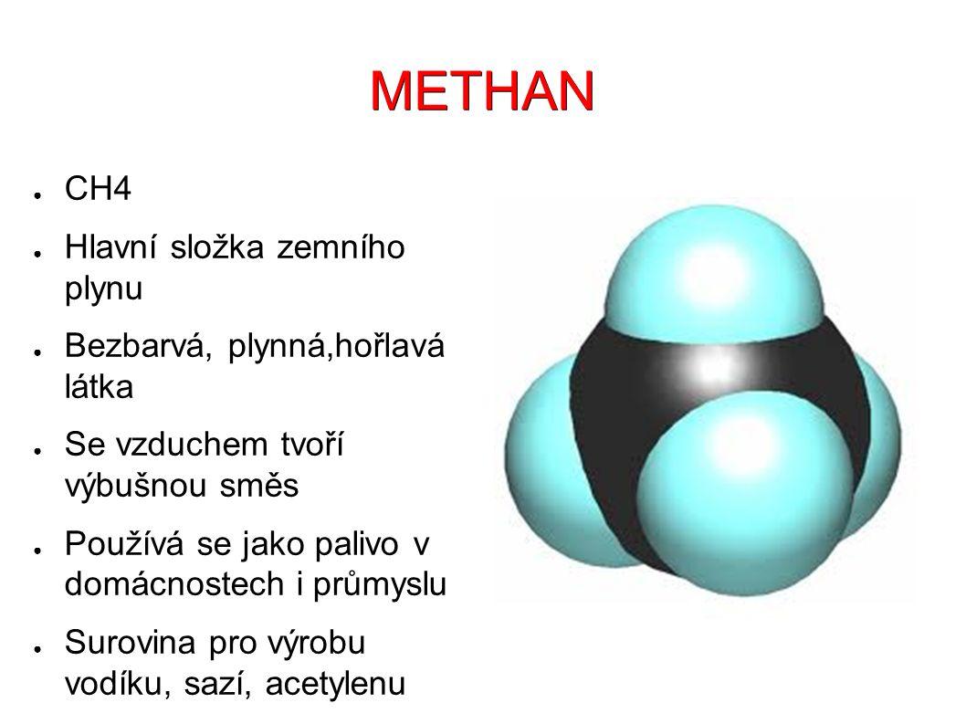 METHAN ● CH4 ● Hlavní složka zemního plynu ● Bezbarvá, plynná,hořlavá látka ● Se vzduchem tvoří výbušnou směs ● Používá se jako palivo v domácnostech i průmyslu ● Surovina pro výrobu vodíku, sazí, acetylenu