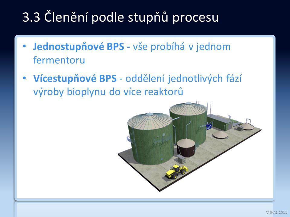 © IHAS 2011 Jednostupňové BPS - vše probíhá v jednom fermentoru Vícestupňové BPS - oddělení jednotlivých fází výroby bioplynu do více reaktorů 3.3 Členění podle stupňů procesu